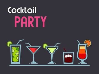 Cocktail party background with various drinks and copy space. Vector illustration.