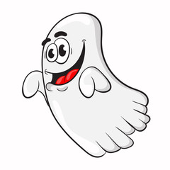 funny cartoon Ghost. the design of the character. vector illustration.
