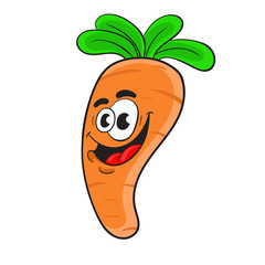 funny cartoon carrot .the design of the character. vector illustration.