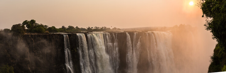 panorama,Sunrise at Victoria Falls, Main Falls, Dry Season