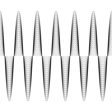 Set of waves with augmented amplitude, the vector of increasing amplitude wave is seamless, criss cross horizontal curvy lines