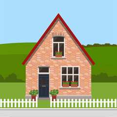 Cute residential country house, country landscape, trendy flat style vector design template