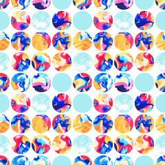 Watercolor marbling circles seamless pattern