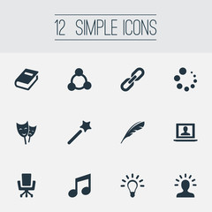 Vector Illustration Set Of Simple Design Icons. Elements Armchair, Encyclopedia, Wizard Stick And Other Synonyms Book, Loading And Literature.