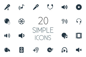 Vector Illustration Set Of Simple Music Icons. Elements Karaoke, Silence, Tape And Other Synonyms Hear, Mute And Vinyl.
