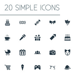Vector Illustration Set Of Simple Holiday Icons. Elements Sweet Dessert, Salute, Mask And Other Synonyms Cream, Play And Voice.