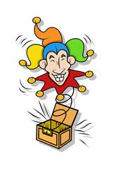 Funny Joker Face Toy Box Vector
