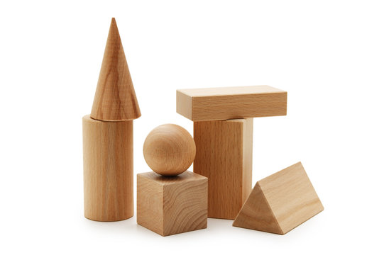 wooden geometric shapes  isolated on a white