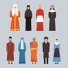Religion people set, men and women of different religious confessions in traditional clothes