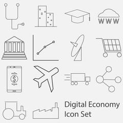 Digital Economy Icon set
