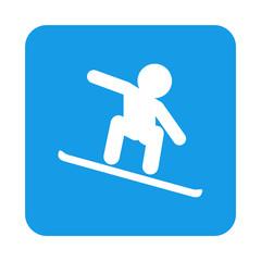 Icono plano snowboard en cuadrado azul