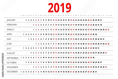 2019 Calendar Print Template Week Starts Sunday Portrait
