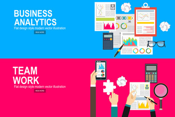 Flat design illustration concepts for business analysis, financial report, consulting, team work, project management and development.
