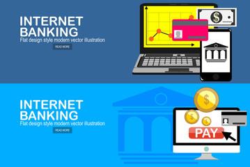 Flat design concepts of internet banking. Vector illustration