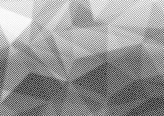 Halftone dotted triangular distressed overlay layout