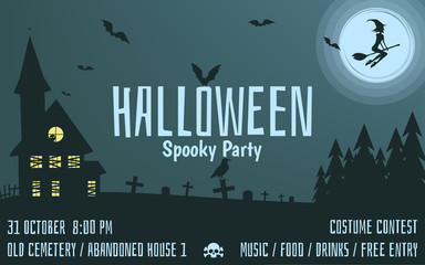 Halloween Party invitation, poster, card, background. Vector illustration