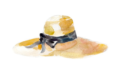 Watercolor illustration, hand drawn straw hat with ribbon isolated object on white background.
