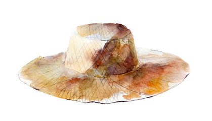 Watercolor illustration, hand drawn straw hat isolated object on white background.
