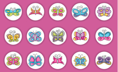 Butterflies summer icons concept  cartoon doodles sticker design. Hand drawn colorful vector illustration collection.