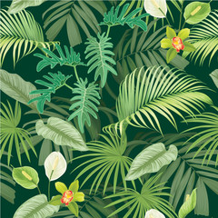 Tropical seamless pattern with leaves and flowers on dark green color background.