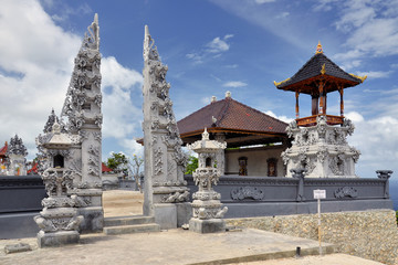 Pura Paluang or Car Temple on Nusa Penida island, Bali, Indonesia. The Paluang temple is famous for two unique sacred sculptures shaped like a car