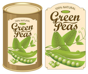 Vector illustration of tin can with a label for canned green peas with the realistic image of pea pods, tendrils and leaves and calligraphic inscription
