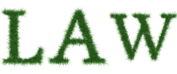 Law - 3D rendering fresh Grass letters isolated on whhite background.