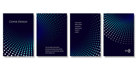 Set of Geometric Backgrounds in Blue Tones. Modern Vector Illustration without Transparency.