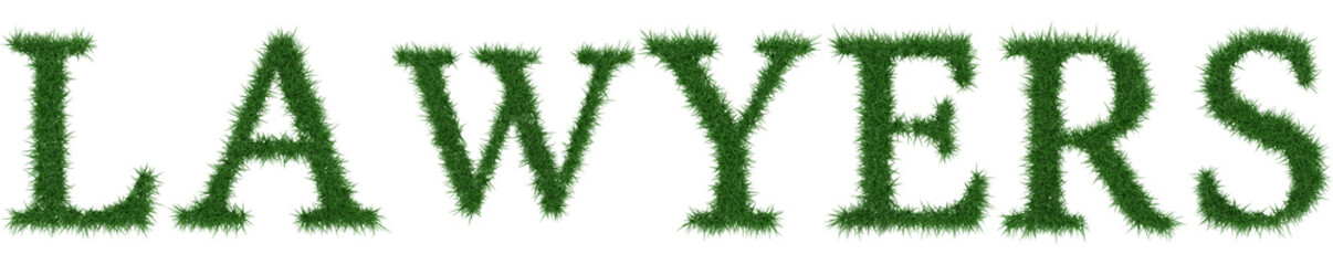 Lawyers - 3D rendering fresh Grass letters isolated on whhite background.