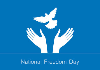 National Freedom Day vector. Hands with dove. Important day