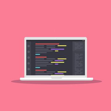 Web Development concept with digital device on pink background. Laptop, computer for work. Program for design or programming - stock vector illustration