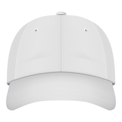 Realistic Front View White Baseball Cap Isolated On A White Background. Vector Illustration. Hats Collection.
