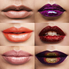 different lips and lipstick collage
