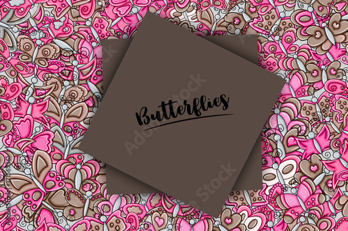 Butterflies summer concept in 3d cartoon doodles background design. Hand drawn colorful vector illustration.