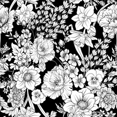 Seamless pattern with poppy flowers daffodil, anemone, violet in botanical vintage style. Black and white colors. Stock line vector illustration.