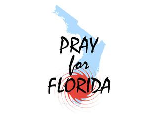 Pray for Florida. Hurricane Irma, natural disaster. Vector illustration