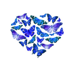 Watercolor heart filled with bright transparent butterflies of blue shades.