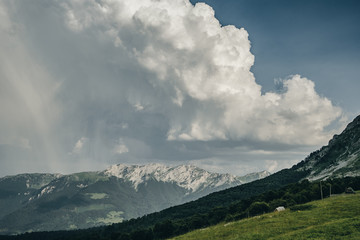 Cumulus clouds  over Mountain Komovi in Montenegro.