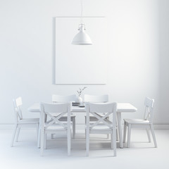 3d render of clean interior with wood table and chairs