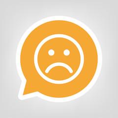 Gelbe Sprechblase - trauriges Gesicht