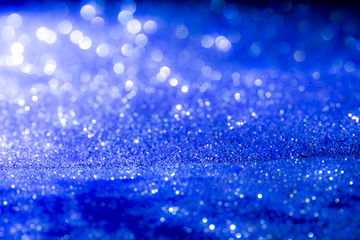 abstract blue Bokeh circles Christmas background, glitter light Defocused