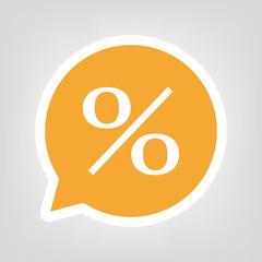 Gelbe Sprechblase - Prozentzeichen