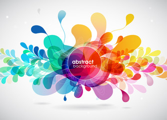 Abstract colored flower background with circles.