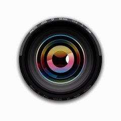 Realistic camera lens on white background