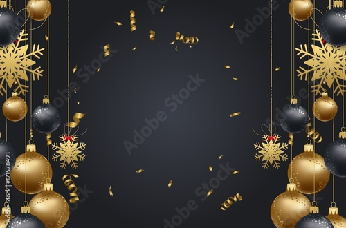 happy new year 2018 background with christmas confetti gold and black colors lace for text 2018