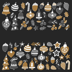 Gold Christmas pattern for banners with christmas bells, snowflakes, candy Holly jolly Merry Christmas and Happy New Year Isolated on blackboard Chalk drawing