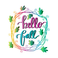 Hello Fall hand lettering calligraphy. Greeting Card.