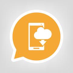 Gelbe Sprechblase - Smartphone mit Wolke-Herunterladen-Symbol