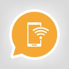Gelbe Sprechblase - Smartphone mit Wlan-Symbol