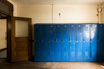 Blue Lockers & Cross - Abandoned Church School